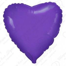 Фольгированное сердце, фиолетовое, 46 см.