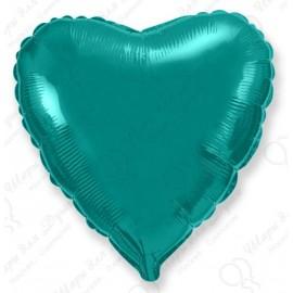 Фольгированное сердце, бирюзовый, 46 см.