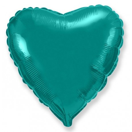 Фольгированное сердце, бирюзовый, 81 см.
