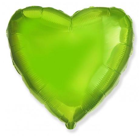 Фольгированное сердце - лайм, 81 см.