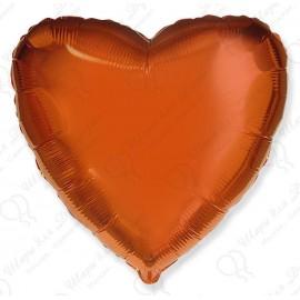 Фольгированное сердце оранжевое, 81 см.