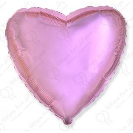 Фольгированное сердце, розовое, 46 см.