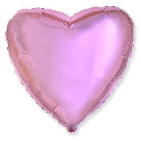 Фольгированное сердце, розовое. 81 см.