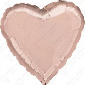Фольгированное сердце - розовое золото, 81 см.
