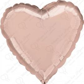 Фольгированное сердце - розовое золото, 46 см.