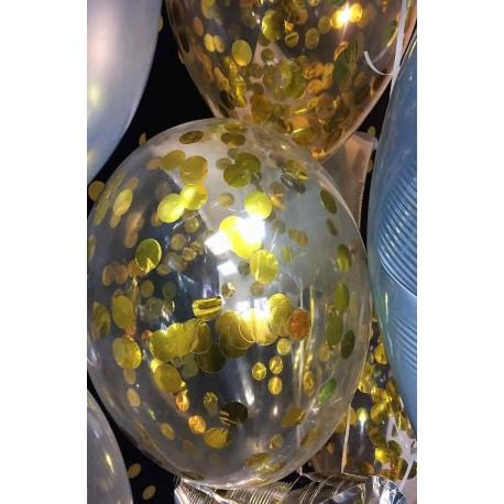 Воздушный шар с конфетти круглые, золото, 30 см.