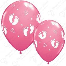 Воздушный шар пяточки детские, розовый, пастель. 30 см.