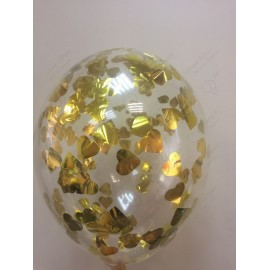 Воздушный шар c конфетти - сердца золото, 30 см.