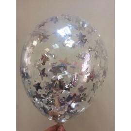 Воздушный шар c конфетти - звезды серебро, 30 см.