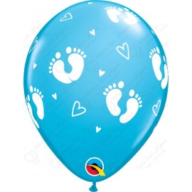 Воздушный шар пяточки детские, голубой, пастель. 30 см.