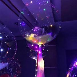 Шар Сфера 3D, Bubble с перьями и светодиодной лентой, прозрачный, (18''/46 см).