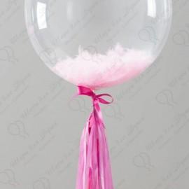 Шар Сфера 3D,  Bubble с перьями нежно-розовый, прозрачный, (18''/46 см).