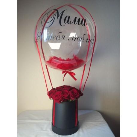 Шар Сфера 3D, Bubble перья красный, прозрачный, (18''/46 см).