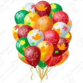 Воздушный шар Листья клена, Ассорти, 30 см.