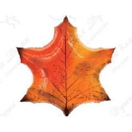 Фольгированный шар лист клена, оранжевый! 74 см.