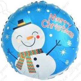 Фольгированный шар (18''46 см) Круг, Счастливый снеговик