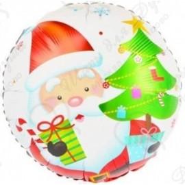 Фольгированный шар (18''46 см) Круг, Дед Мороз с подарками