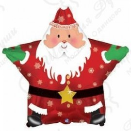 Фольгированный шар (18''46 СМ) звезда, Санта С НОВЫМ ГОДОМ, красный