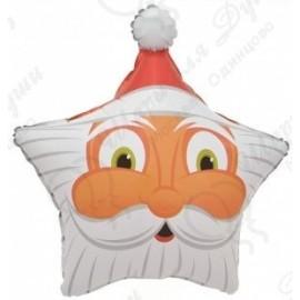 Шар (19''48 см) Звезда, Голова Деда Мороза