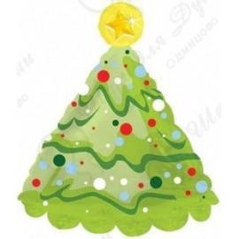 Шар (30''76 СМ) фигура, елка новогодняя, зеленый