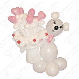 Мишка из шариков с корзиной цветов