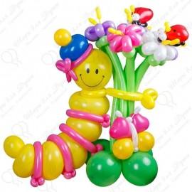 Гусеница из шаров с цветами