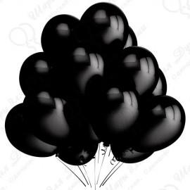 Воздушный шар 30 см, черный, металлик.