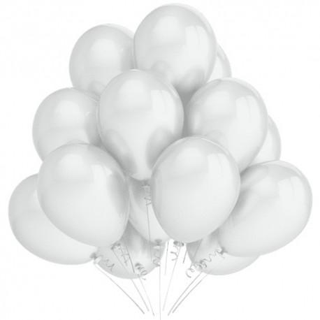 Воздушный шар белый, перламутр, 30 см.