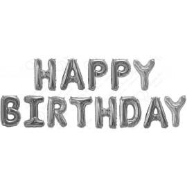 "Набор шаров-букв (16''/41 см) Мини-Надпись ""Happy Birthday"", Серебро, 1 шт. в упак."