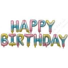 """Набор шаров-букв (16''/41 см) Мини-Надпись """"Happy Birthday"""", Нежная радуга, 1 шт. в упак."""