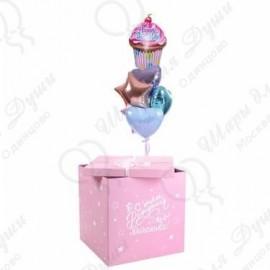 Коробка с шарами розовая