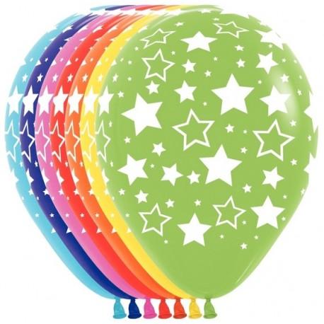 Воздушный шар - Звезды, ассорти, пастель, 30 см.