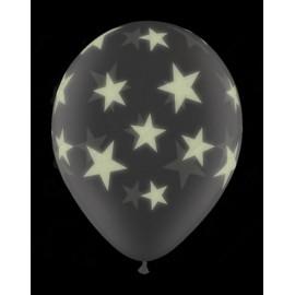 Воздушный шар 30 см  Звезды светящиеся, шелк.