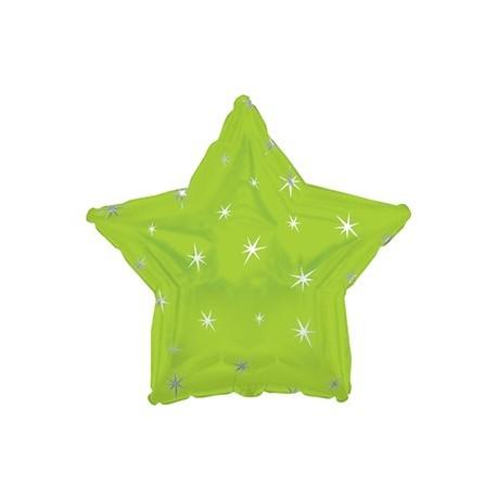 Фольгированный шар - Звезда лайм, искры. 46 см.