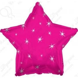 Фольгированный шар 46 см  Звезда Фуше, искры.