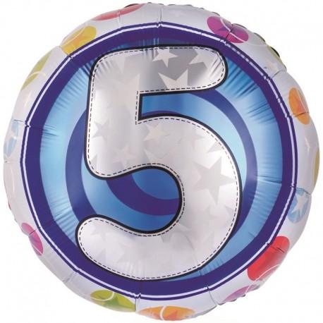 Фольгированный шар - цифра 5. 46 см.