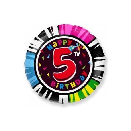 Фольгированный шар С Днем Рождения - цифра 5. 46 см.
