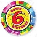 Фольгированный шар С Днем Рождения - цифра 6.