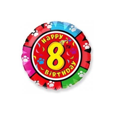 Фольгированный шар С Днем Рождения - цифра 8. 46 см.