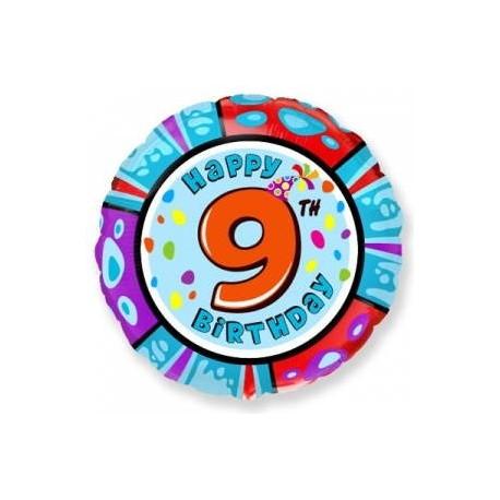 Фольгированный шар С Днем Рождения - цифра 9. 46 см.