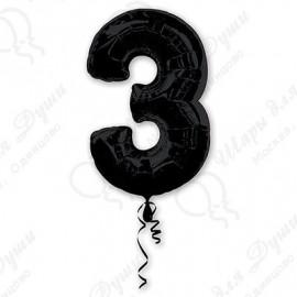 Фольгированная цифра 3, черная.