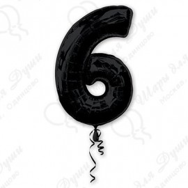 Фольгированная цифра 6, черная.