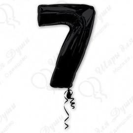 Фольгированная цифра 7, черная.