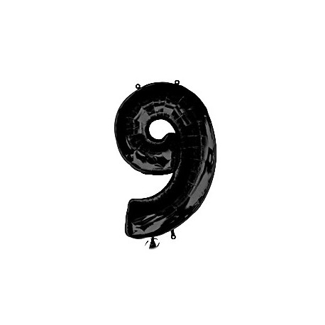 Фольгированная цифра 9, черная. 86 см.