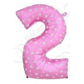 Фольгированная цифра 2, розовая.