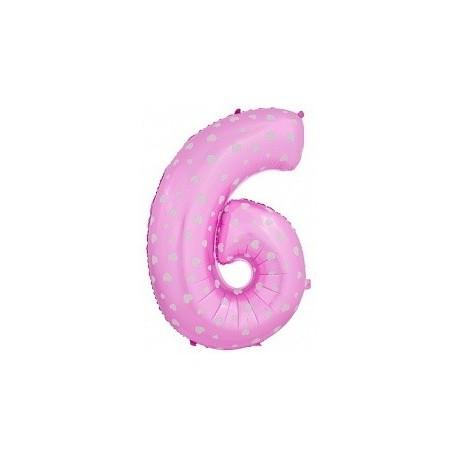 Фольгированная цифра 6, розовая.