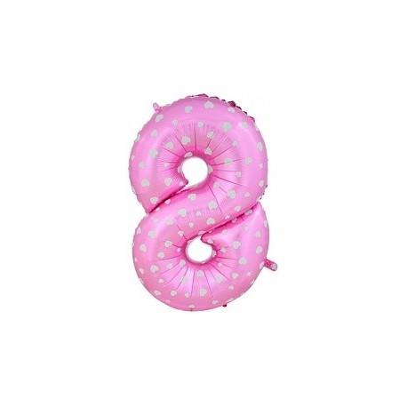 Фольгированная цифра 8, розовая.