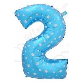 Фольгированная цифра 2, синяя.