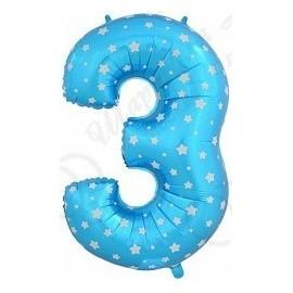 Фольгированная цифра 3, синяя.