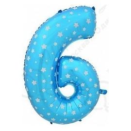 Фольгированная цифра 6, синяя.